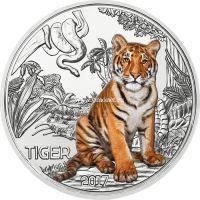 Монета Австрии 3 евро 2017 года Тигр