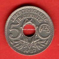 Франция 5 сантимов 1937 года.