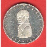 Германия (ФРГ) 5 марок 1977 года Генрих фон Клейст. Серебро
