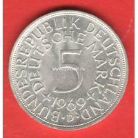 Германия (ФРГ) 5 марок 1969 года Серебро