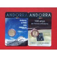 Андорра 2 монеты 2 евро 2017 года 100 лет гимну Андорры и Андорра - страна в Пиренеях