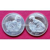 Майотта набор 2 монеты 1 франк 2017 года (динозавры)
