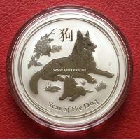 Австралия 1 доллар Год Собаки 2018 1 унция серебра