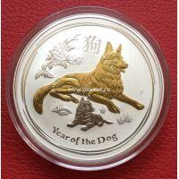 Австралия 1 доллар Год Собаки 2018 1 унция серебра позолота