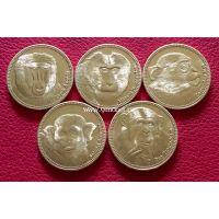 Сомалиленд набор 5 монет 2017 года Обезьяны