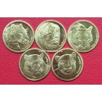 Набор монет Сомалиленда 2016 года. 5 шиллингов. Дикие кошки.