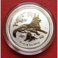 Австралия 50 центов Год Собаки 2018 1/2 унции серебра