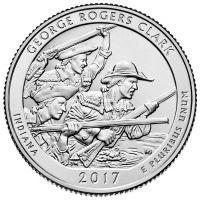 2017. США 25 центов. 40 Национальный парк Джордж Роджерс Кларк в Индиане.