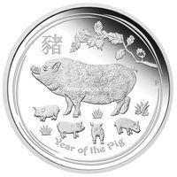 Австралия 1 доллар Год Свиньи 2019 1 унция серебра