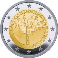 Андорра 2 евро 2018 года 70 лет Всеобщей декларации прав человека.