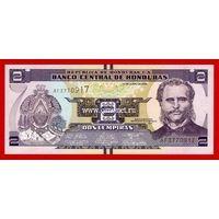 Гондурас банкнота 2 лапмпиры 2014 года.
