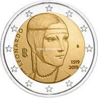 Италия 2 евро 2019 года Леонардо да Винчи.