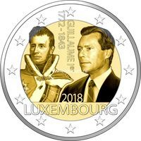 Люксембург 2 евро 2018 года 175 лет со дня смерти Великого герцога Гийома I.