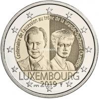 Люксембург 2 евро 2019 года 100 лет вступления на престол Великой Герцогини Люксембурга Шарлотты.