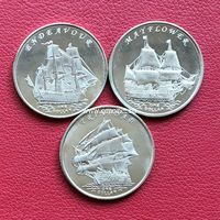 Острова Гилберта набор монет 1 доллар 2014 года Корабли парусники.
