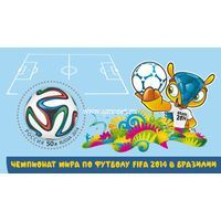 Россия почтовый блок 2014 года Чемпионат мира по футболу FIFA 2014 в Бразилии.
