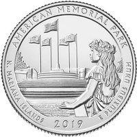 США 25 центов 2019 года 47 парк Национальный мемориальный парк.