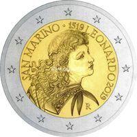 Сан-Марино 2 евро 2019 Леонардо да Винчи.