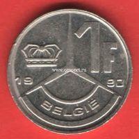 Бельгия монета 1 франк 1990 года.