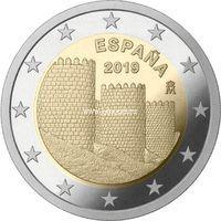 Испания 2 евро 2019 года Старый город Авила.