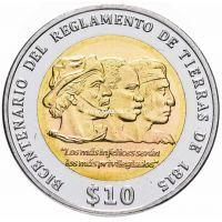 Уругвай 10 песо 2015 года Положение о земле 1815 года.