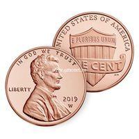 США монета 1 цент 2019 W Proof