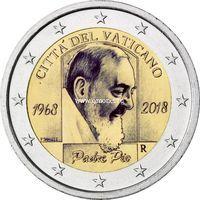 Ватикан 2 евро 2018 года падре Пио.