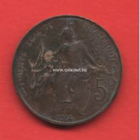 Франция монета 5 сантимов 1914 года.