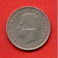 Испания монета 25 песет 1975 года.