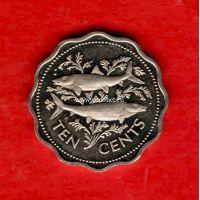 Багамские острова монета 10 центов 1975 года.