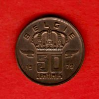 Бельгия монета 50 сантимов 1973 года.