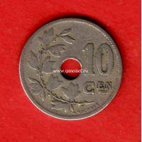 Бельгия монета 10 сантимов 1904 года.