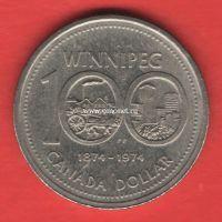 Канада 1 доллар 1974 года 100 лет городу Виннипег.