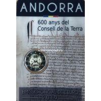 Андорра 2 евро 2019 года 600 лет Совета Земли.