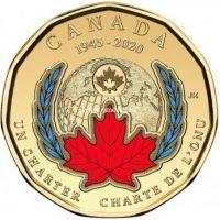 Канада 1 доллар 2020 года 75 лет ООН. (цветная)