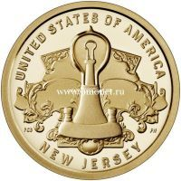 США 1 доллар 2019 года Лампа накаливания Томаса Эдисона.