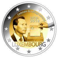 Люксембург 2 евро 2019 года 100 лет универсального права голоса.