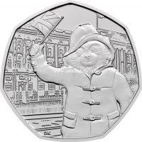 Великобритания 50 пенсов 2018 года Медвежонок Паддингтон у Букингемского дворца.
