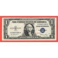 США 1 доллар 1935 Серебряный сертификат с синей печатью.