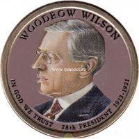 США 1 доллар 2013 года 28 президент Вудро Вильсон. (цветная)