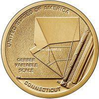 США 1 доллар 2020 года Шкала Гербера Инновация Коннектикут.
