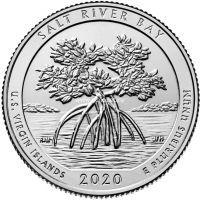 США 25 центов 2020 года 53 Национальный парк Солт Ривер Бэй.
