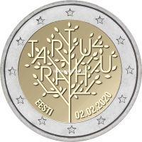 Эстония 2 евро 2020 года 100 лет Тартуского мирного договора между РСФСР и Эстонией.