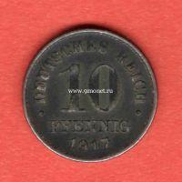 Германия 10 пфеннигов 1917 года.