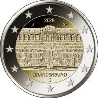 Германия 2 евро 2020 года Дворец Сан-Суси в Потсдаме.