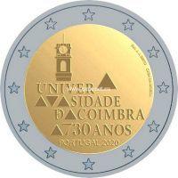 Португалия 2 евро 2020 года 730 лет университету Коимбры.