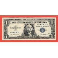 США  1 доллар 1957 Серебряный сертификат с синей печатью.