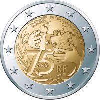 Франция 2 евро 2021 года 75 лет ЮНИСЕФ