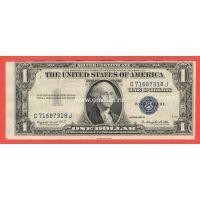 США банкнота 1 доллар 1935 Серебряный сертификат с синей печатью.