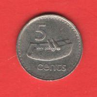 Фиджи монета 5 центов 1990 года.